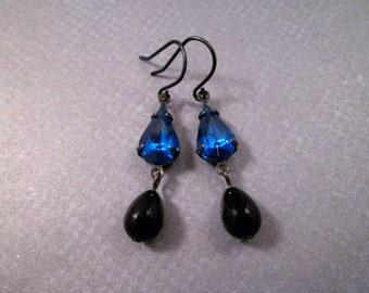 Rhinestone Earrings, Midnight Blue and Black Glass Drops, Gunmetal Silver Dangle Earrings, FREE Shipping U.S.