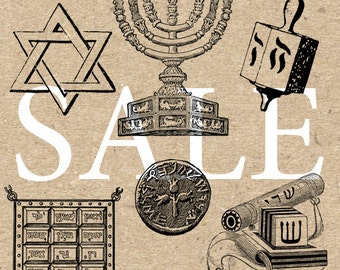 Sale Jewish symbol Collection Instant Download Digital printable vintage drawing clipart  graphic black and white for art print HQ300dpi