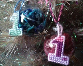 Baby's 1st Christmas Round Plastic Yarn-Filled Ornaments, pink, blue