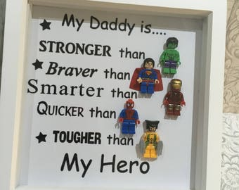 Fathers day lego frame, superhero figures gift, daddy gift, birthday gift,gift for him, box frame, Christmas gift, my daddy, daddy gifts,