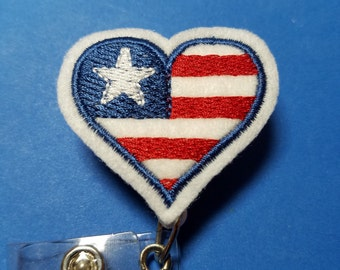 Patriotic Heart - Stars and Stripes -Name Badge Reel with Clip