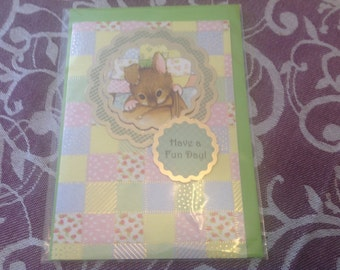 Any Occasion Mousey Patchwork Quilt Card with Envelope