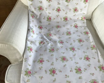 Vintage shabby cottage style full flat sheet with soft pink roses