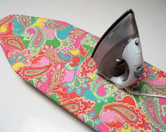 Ironing Board Cover TABLE TOP - retro paisley bright pink, green aqua and yellow