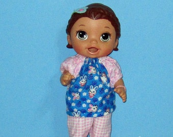 Baby Alive Snackin Lily ,Baby Alive Sweet Spoonfuls, Blue Bunny and Pink Pajama Set, Girl Doll Clothes, 12 13 inch Doll Clothes, Outfit