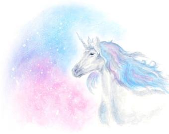 unicorn art print, unicorn print, unicorn gift, unicorn nursery, unicorn poster print, unicorn watercolor, unicorn art, fantasy art, pastel