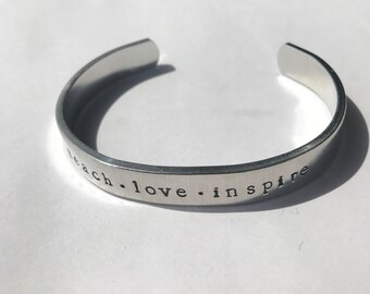 """Handstamped Bracelet, Customized Aluminum Cuff, 3/8"""" Bangle Bracelet, Personalized Gift, Graduation Gift, Gifts under 20, Mothers Day Gift"""