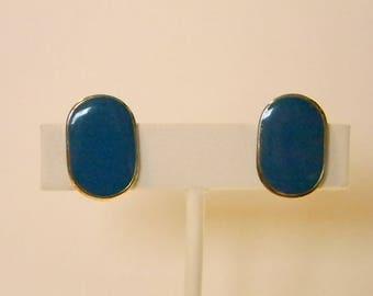 Oval Enamel Teal Clip On Earrings
