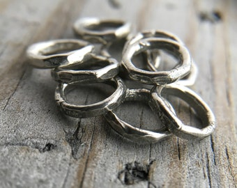 Sterling Silver Hammered Jump Ring Sterling Silver Rustic Jump Ring Jewelry Findings Handmade In USA