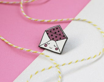Ella the Envelope Enamel Lapel Pin | cute enamel pin hat badge snail mail love letter