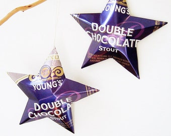 Youngs Double Chocolate Stout English Beer Stars Christmas Ornaments Aluminum Can Upcycled