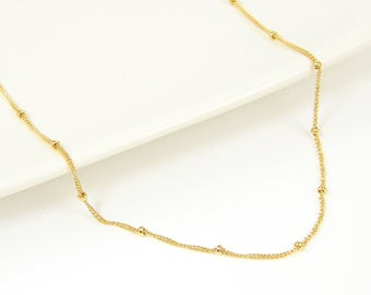 Satellite Chain Necklace, 14KT Gold Filled Satellite Chain, Minimalist Beaded Necklace Chain, Yellow Gold Filled Chain Necklace