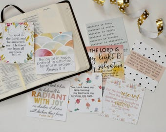 Watercolor Scripture Cards, Set of 8, Verses about Light and Hope, Instant Download