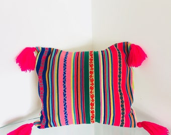 Unique pillow cover case made from recycled handmade by loom vintage Peruvian fabric upcycled PG6