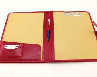 Noda Italian Genuine Leather Business Presentation Meeting Conference Folder a4 with Clipboard Red