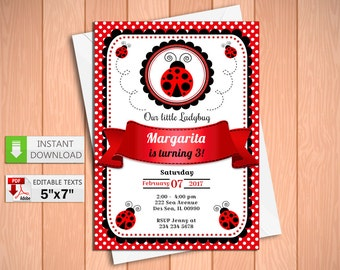Ladybug invites etsy printable invitation little ladybug in pdf with editable texts little ladybug party invitation edit and print yourself solutioingenieria Choice Image