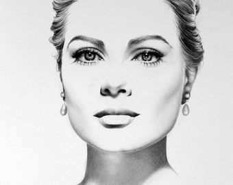 Grace Kelly  Fine Art Pencil Drawing Portrait  Signed Print