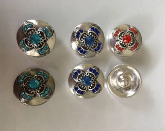 Snap Charms Red, Deep Blue, Turquoise