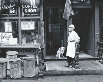 "Lower East Side, NYC, ""Nick's Coffee Shop"".  Original Photo Art Card"
