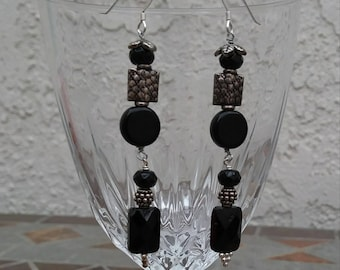 Black glass and Thai Silver earrings