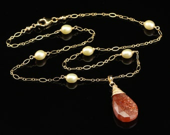 Sunstone Pendant on Champagne Freshwater Pearl and Gold Filled Chain