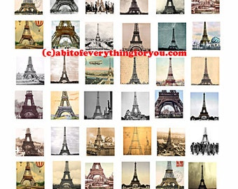 Eiffel Tower Paris france downloadable collage sheet printable 1 inch squares clip art digital download graphics pendant images travel