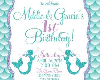 ON SALE Twins Mermaid Birthday Invitation, Mermaid Party Invite Under the sea mermaid glitter