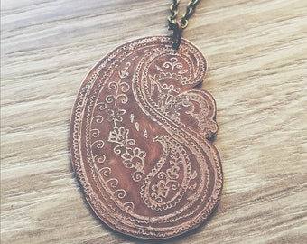 Etched Copper Paisley Pendant Necklace