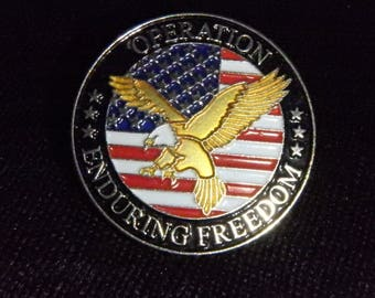 OPERATION ENDURING FREEDOM Flag and Eagle American Spirit Lapel Pin