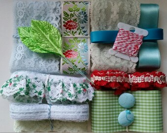 Vintage Lace, Ribbons, and Trims No.36 | Red, Blue, Green Embellishment Collection | Sewing | Gift Wrap | Scrapbooking