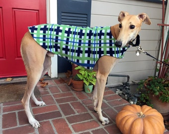 Greyhound Dog Coat, XL Dog Jacket, Navy, Denim Blue, Green, and White Plaid Fleece with Navy Fleece Lining