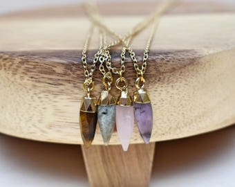 Gemstone Spike Gold Necklace/ Gemstone Necklace/ Tiny Small Delicate Necklace/ Natural Stone Spike Flash Labradorite (EP-NPV12)
