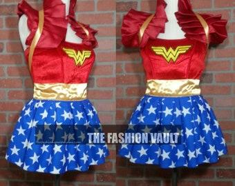 Sample Wonder Woman Cosplay dance costume skirt and collar bolero shrug wrap