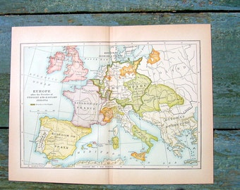Small Vintage Map - 1934 Map - Map of Europe - From World History Book and Atlas - 9 x 7