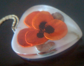 Now On Sale Vintage 50s Reverse Carved Pansy Flower Lucite Pendant/ Necklace