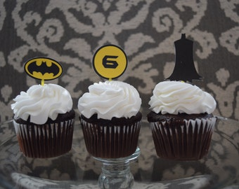 Batman Cupcake Toppers, Batman Birthday Decor, Batman Party Decoration