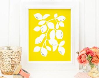 Lemon Art Print - Lemon No. 3 - 8x10 Print