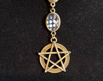 """16"""" Wiccan moon phase and pentacle 2mm leather necklace"""