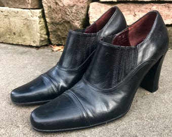 "Designer Coach Italian ""Genna"" Ankle Booties Black Leather Heels Made in Italy Size 6 1/2"