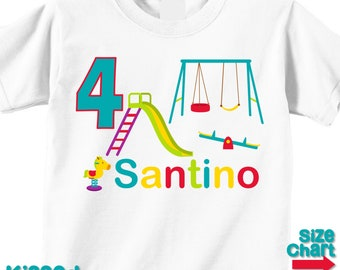 Personalized Playground Birthday Party T-shirt Bodysuit Boy Girl Kids Toddler Park Outdoor Swing See Saw Slide Birthday Party Shirt