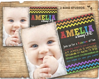 Rainbow party invitation - Rainbow birthday chalkboard theme invite- Rainbow art printable invitation