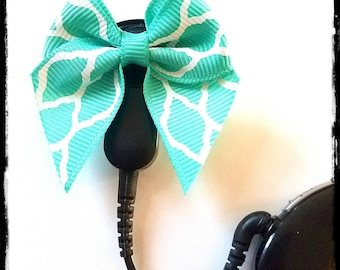 Cochlear Cuties: Teal and Gray Diamond Patterns Bows!  Please select quantity 2 for a pair!
