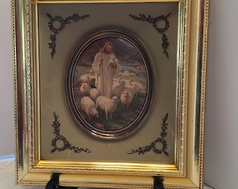 Religious Picture ~ Jesus with Sheep ~ Shepherd with Sheep ~ Shadow Box Picture ~ Gold Frame ~ Vintage