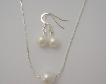 Single Floating Pearl Bridesmaid Jewelry Set  - Necklace and Earrings, bridesmaid gifts
