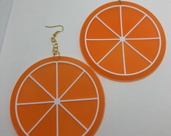 Giant huge Kitch fruit charm orange slice earrings gold colour hooks A222 silicone