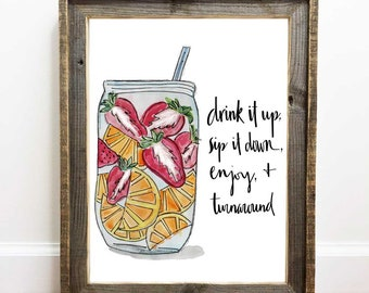 Drink Printable, Drink it Up, Drink Up, Drink it Down, Sip It Up, Drinking Game, Hand Lettered, Mason Jar, Infused Fruit
