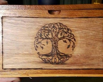 Pyrographed Upcycled Wood Cigar Box, One Image on Front Only