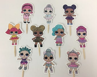 Dolls Surprise Cupcake Toppers / Die Cuts / Birthday Party / Decorations / Party Supplies / Decor