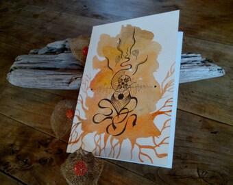 Carte postale pliée nature orangée