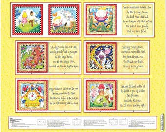 Little Readers~Nursery Rhymes Book Panel 35inx 44in Children's Cotton Fabric By Henry Glass